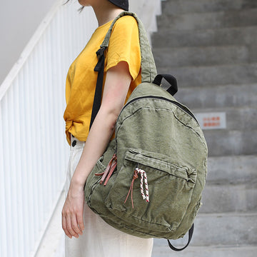 Double Zipper Student Canvas Backpack