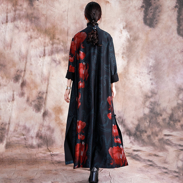 Double Breasted Floral Printed Trench Coat