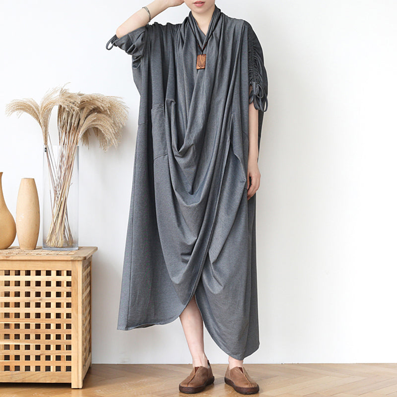Drawstring Half Sleeve Pleated Irregular Cotton Dress