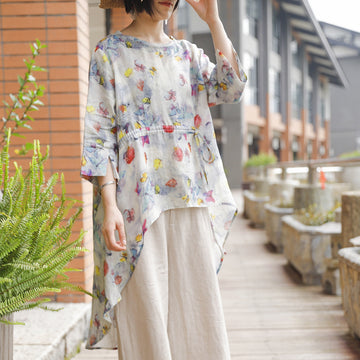 Drawstring Irregular Hem Butterfly Printed Blouse