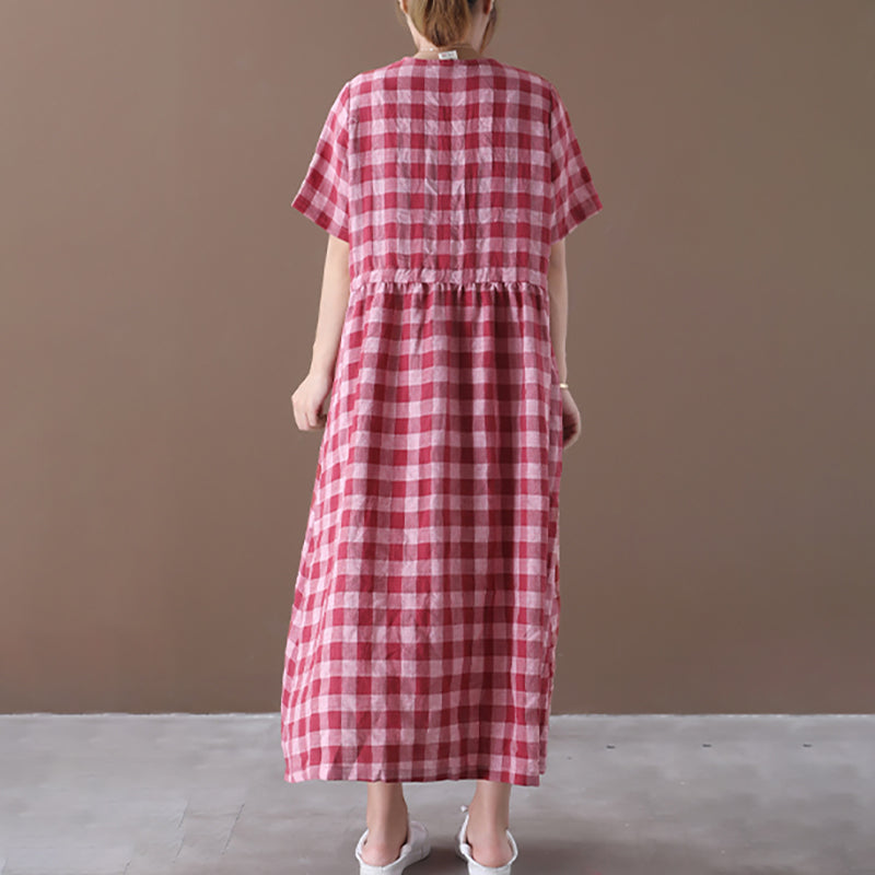 Drawstring Plaid V-neck Short Sleeve Linen Dress