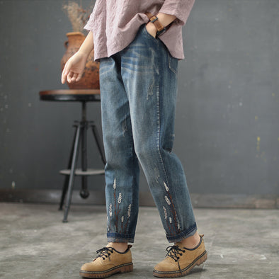 Drawstring Denim Blue Women Autumn Harem Pants