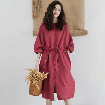 Drawstring Pleated Pure Color Plus Size Dress