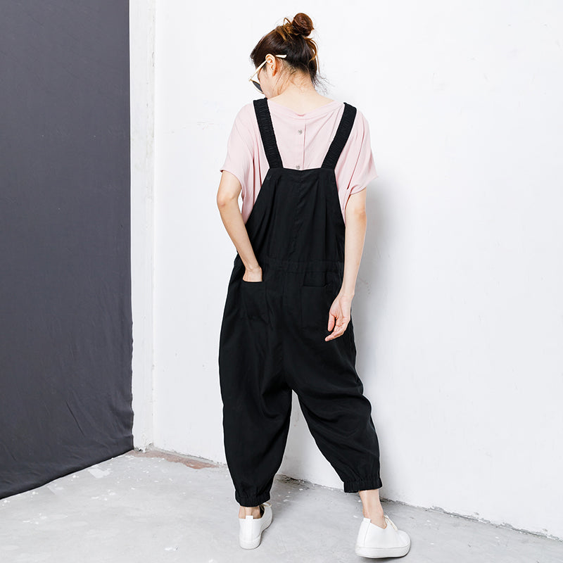 Drawstring Pure Color Loose Casual Jumpsuit