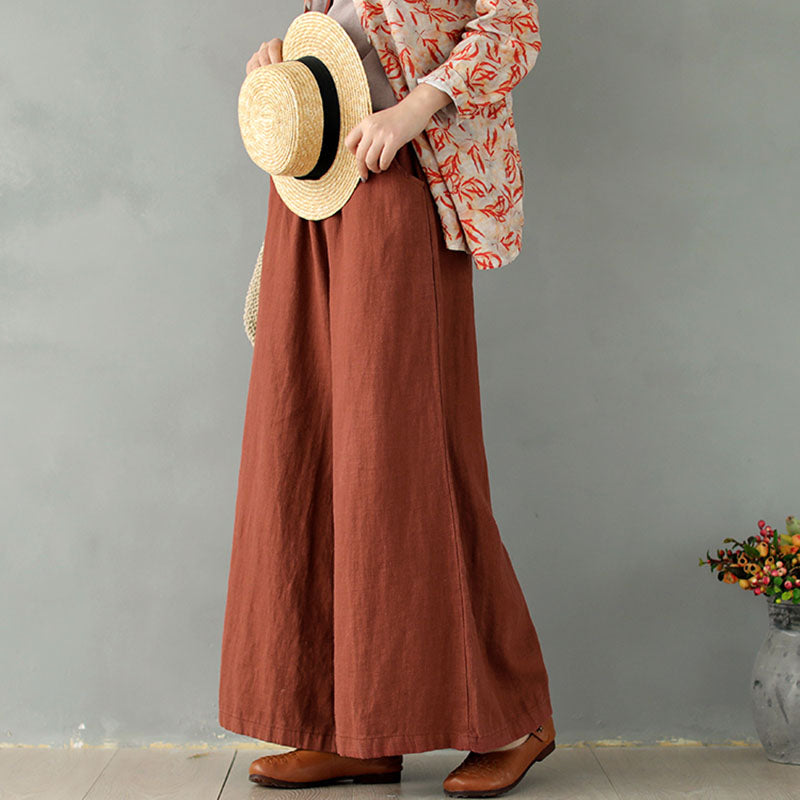 Drawstring Solid Color Ramie Wide Leg Pants