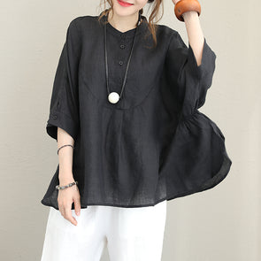 Drop Sleeve Cotton Linen Loose Solid Plus Size Blouse