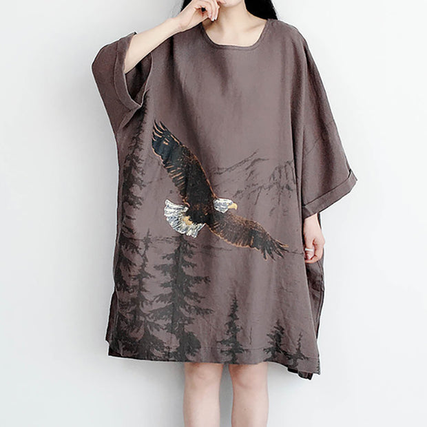 Eagle Soaring Ink Painting Loose Dress