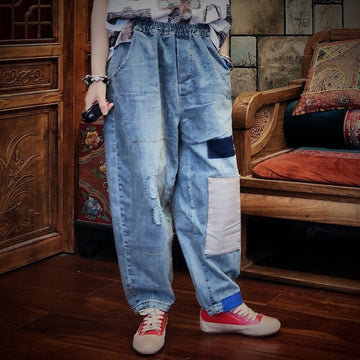 Elastic Waist Color Matching Patchwork Distressed Jeans
