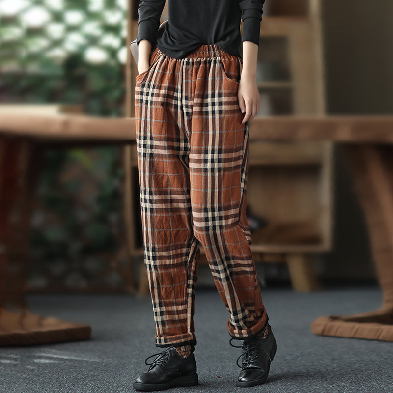 Elastic Waist Cotton Plaid Warm Pants