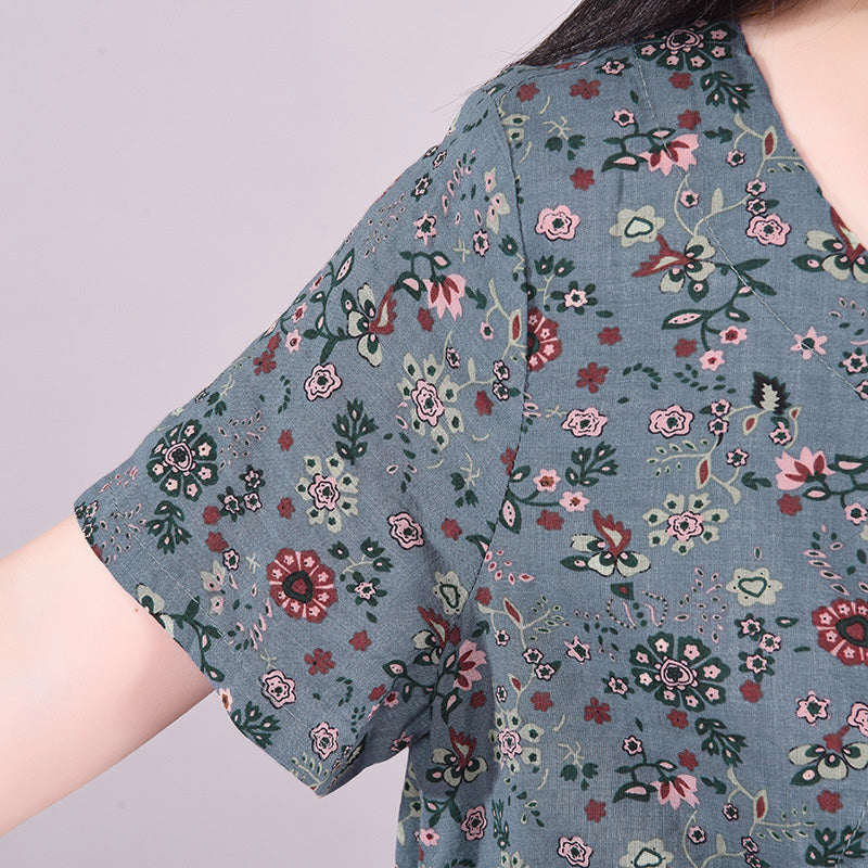 Elastic Waist Drawstring Pocket Floral Dress