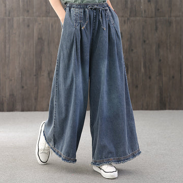 Elastic Waist Natural Burr Solid Color Wide Leg Jeans