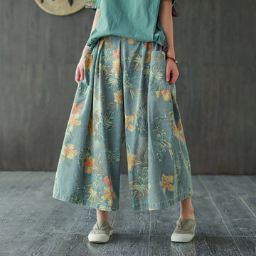 Elastic Waist Summer Women Loose Prints Denim Pants