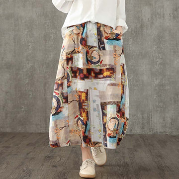 Buykud Linen Casual Printed A-line Skirt
