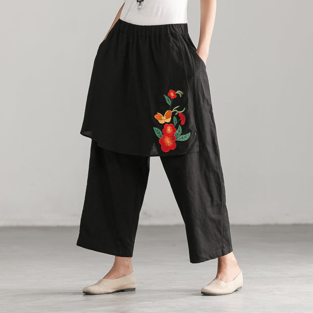 Elastic Waist Flower Embroidery Women Black Pants