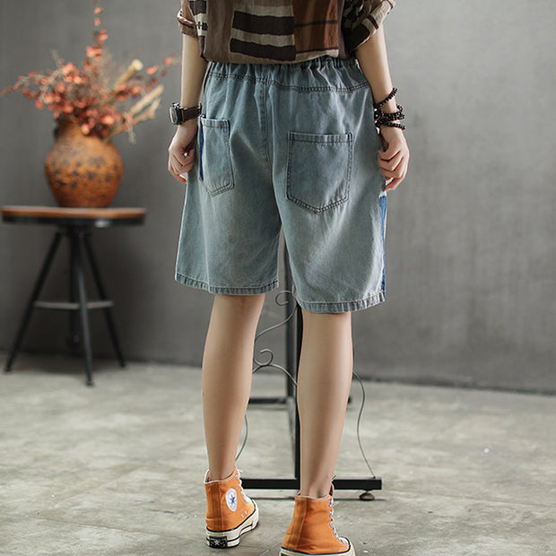 Elastic Waist Knee Length Hole Jeans