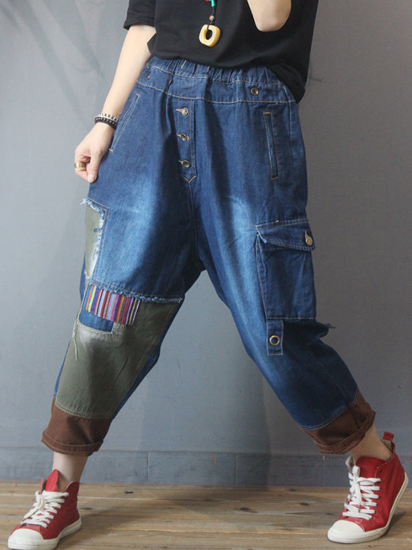 Elastic Waist Personalized Patchwork Jeans