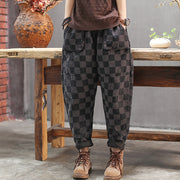 Elastic Waist Checkered Casual Harem Pants