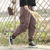 Elastic Waist Plaid Cotton Linen Winter Women Pants