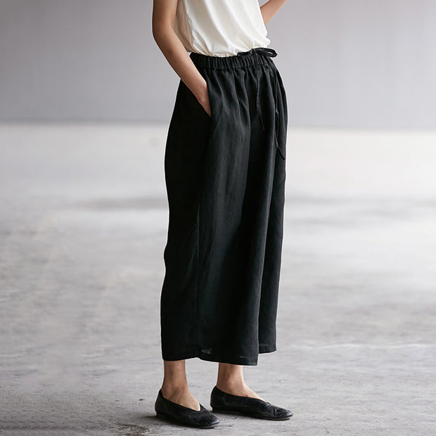 Elastic Waist Plus Size Black Wide Leg Pants