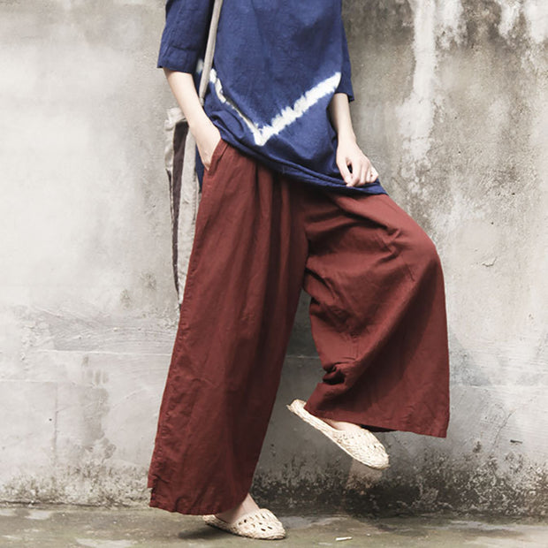 Elastic Waist Solid Color Wide Leg Pants