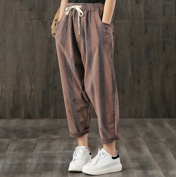 Elastic Waist Striped Casual Turnip Pants