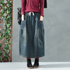Elastic Waist Women Autumn Casual A-Line Skirt