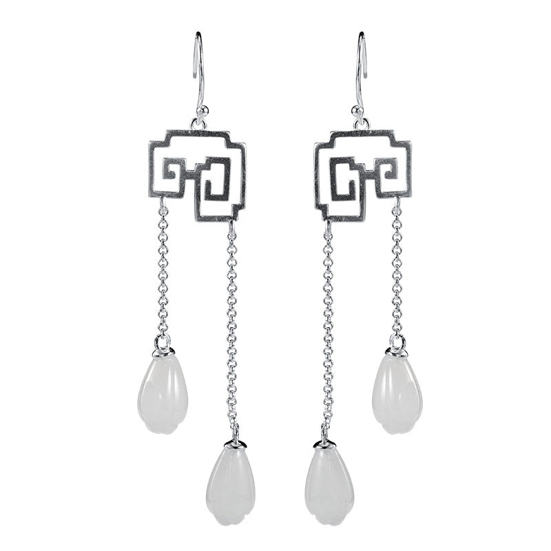 Elegant White Jade Orchid Silver Dangle Earrings