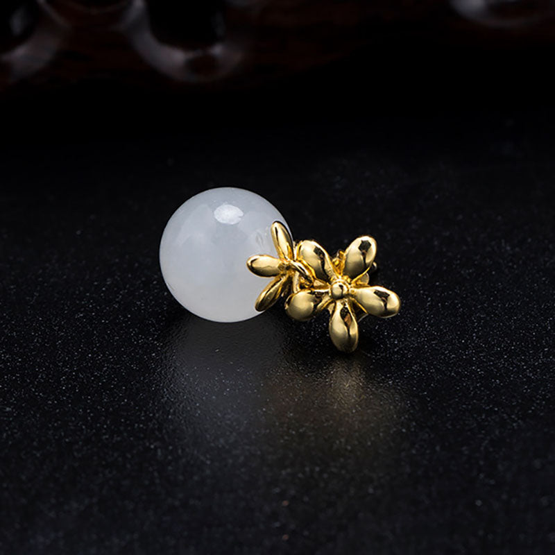 Elegant White Jade Plated Silver Ear Studs