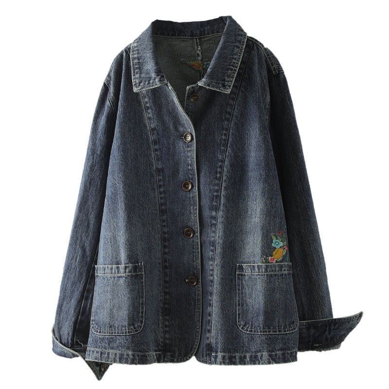 Embroidered Flower Turn-down Collar Denim Coat