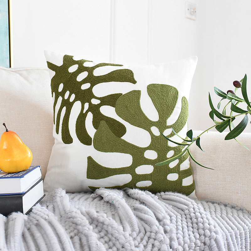 Embroidered Green Leaf Fashion Simple Pillow Cover
