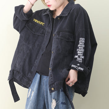 Embroidered Letter Belt Hem Black Denim Coat