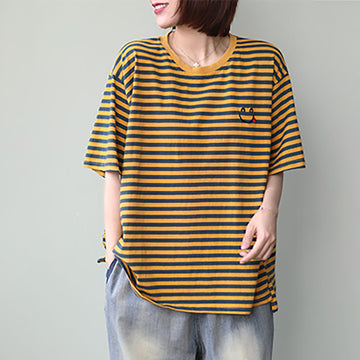 Embroidered Smiley Casual Summer Striped T-shirt