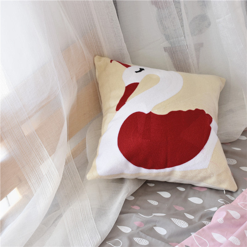 Embroidered Swan Cock Cotton Pillow Case