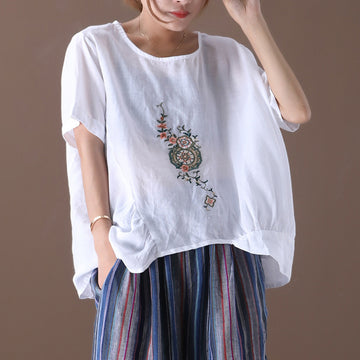 Embroidered Women Summer Loose Casual T-shirt