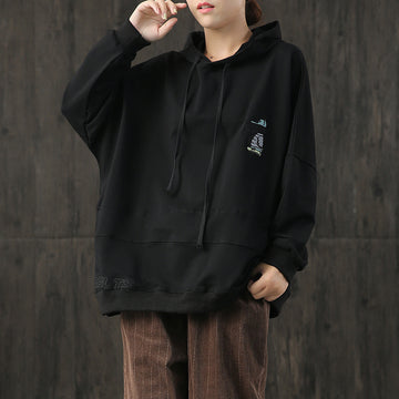 Embroidered Cartoon Dog Casual Loose Hoodie