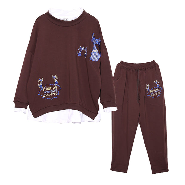 Embroidered Cats Comfortable Two Piece Suit