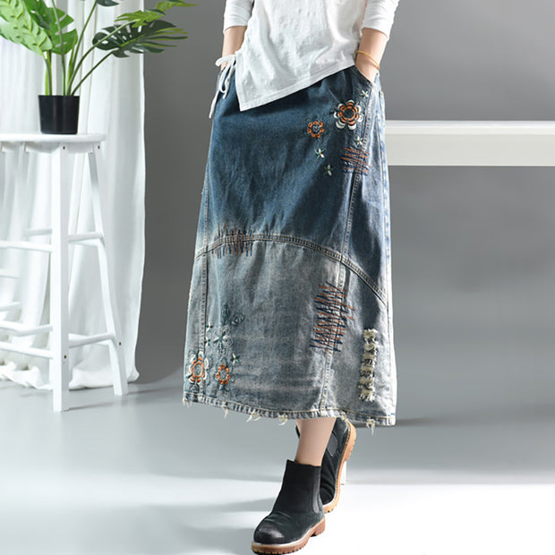Embroidered Floral Frayed Casual Denim Skirt
