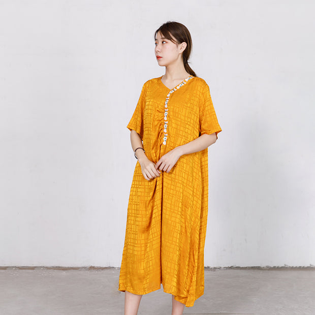 Embroidered Floral V-Neck Loose Soft Dress