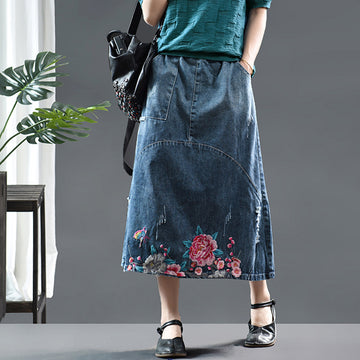 Embroidered Flower Casual Denim Skirt