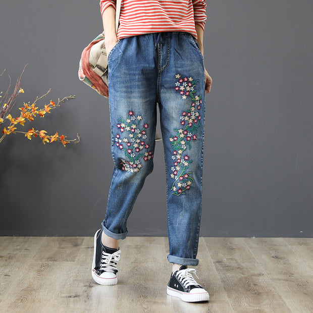 Embroidered Flower Casual Harem Jeans