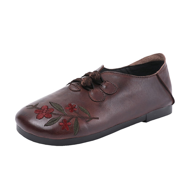 Embroidered Flower Handmade Leather Comfortable Flat Shoes