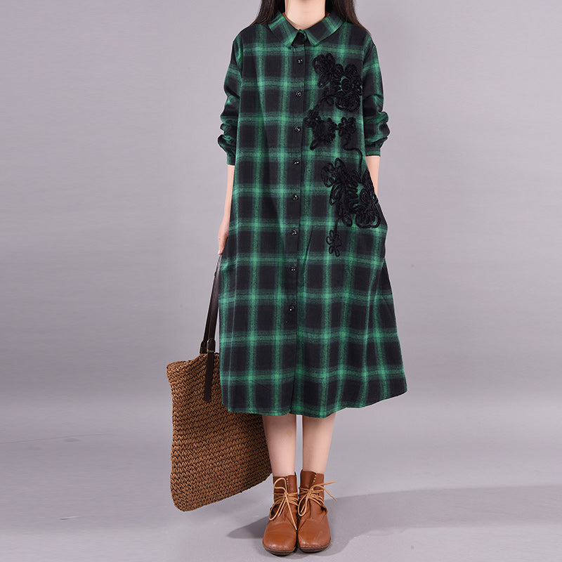Embroidered Flower Spring Plaid Dress