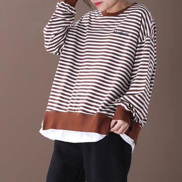Embroidered Letter Casual Loose Striped Sweatshirt