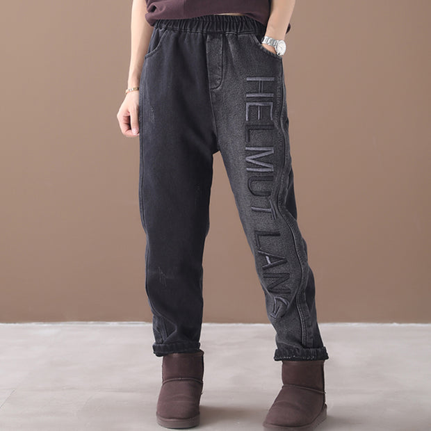 Embroidered Letter Casual Plus Velvet Jeans