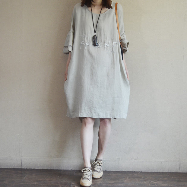 Embroidered Letters Solid Color Loose Dress