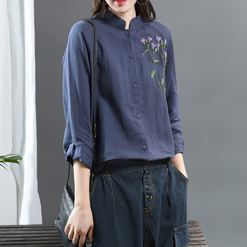 Embroidered Plant Casual Ramie Shirt