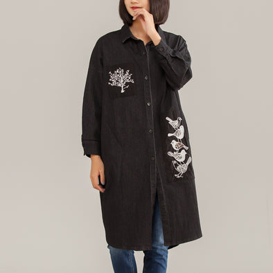 Embroidery  Animal Women Cotton Black Straight Shirt