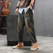Embroidery Cartoon And Letter Casual Jeans
