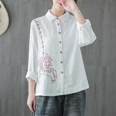 Embroidery Cartton Autumn Female Casual Shirt