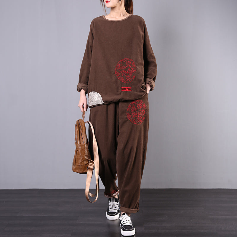 Embroidery Casual Corduroy Two Piece Suit